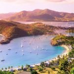 view of boats in the harbors surrounding the coast of antigua