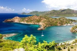 Antigua coasts with boat in the middle