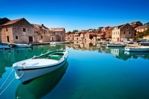 boat at the town in croatia