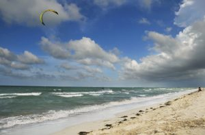 kite surfing off the beach in antigua