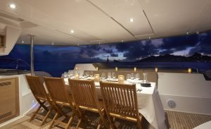 dining table set for dinner on the boat