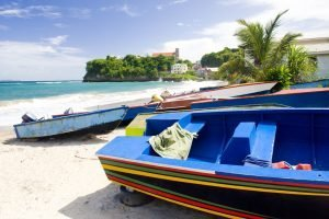 taxi boats on the beach in grenada