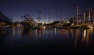 boats at night with lights