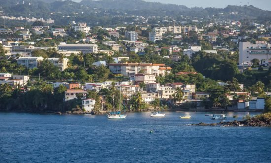 houses and building up the coast of martinique