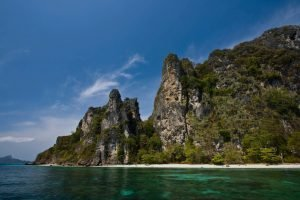 rocky cliff at the beach in thailand