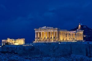 Parthenon in athens greece at night