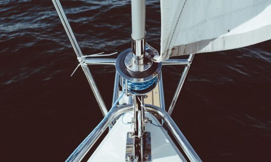 ropes and sails on the boat