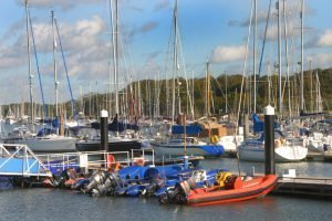 boats lined up at the dock in Hamble