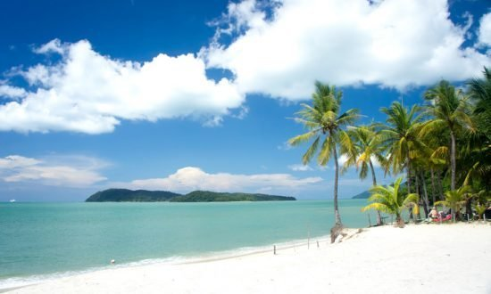 white beach with trees in Langkawi