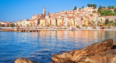 Cote d'Azur coastline houses and stores
