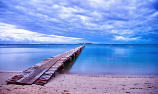 long dock at beach in balearic islands
