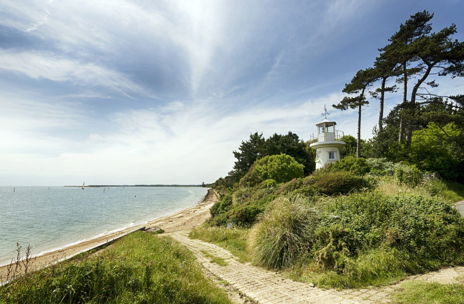 trees around a lighthouse in hamble
