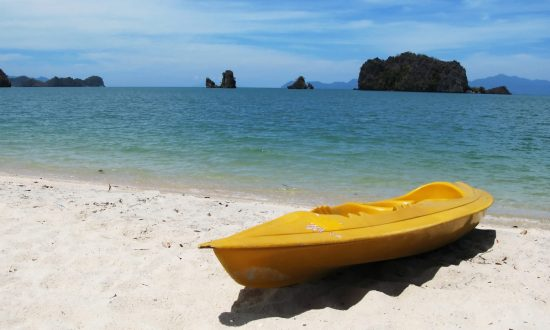 yellow kayak on the beach