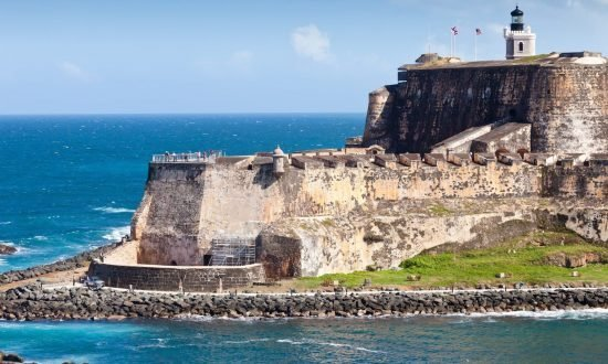 Fort at the rocky coast of Puerto Rico