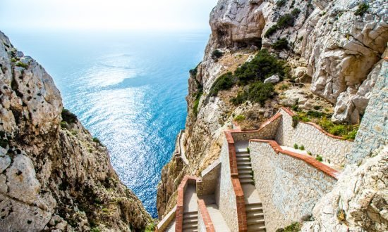 stairs up the side of a cliff in Sardinia