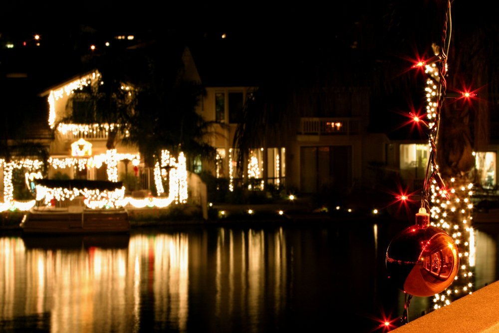 christmas lights reflecting on the water in annapolis