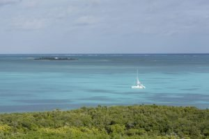 view of boat off the coast of abaco bahamas