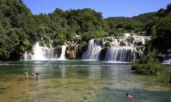 swimming in the waterfall in Croatia