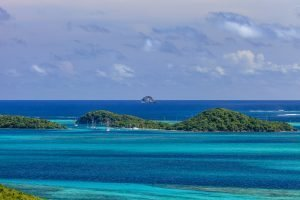 Tobago Cays surrounded by the blue water of the Caribbean