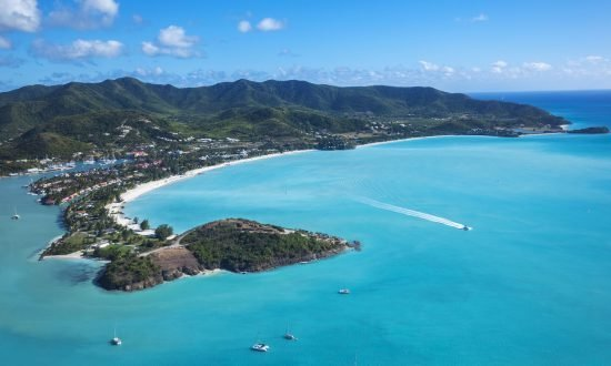 view from the sky of Jolly Harbor Antigua