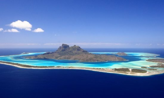 above view of Bora Bora Lagoon in French Polynesia