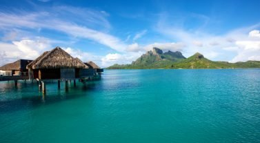 bungalows in the famous lagoon of Bora Bora