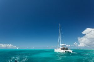 Catamaran sailing through the Caribbean BVI