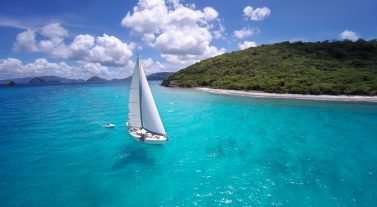 aerial of sailboat under full sail in Caribbean Sea BVI