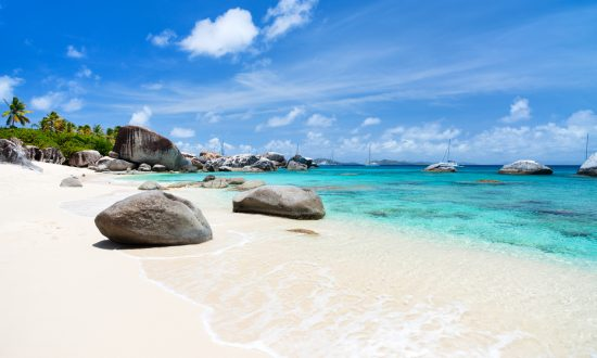Virgin Gorda white sand beach in BVI