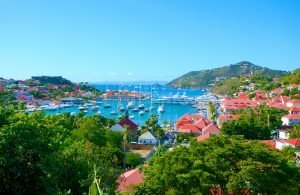 View of boat filled harbor in st. Barths in Caribbean Sea