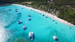 Boats anchored at White Bay off Jost Van Dyke BVI