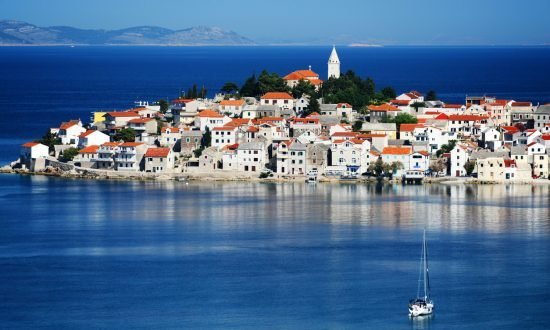 Sailboat approaching the Dalmatian coast of Croatia