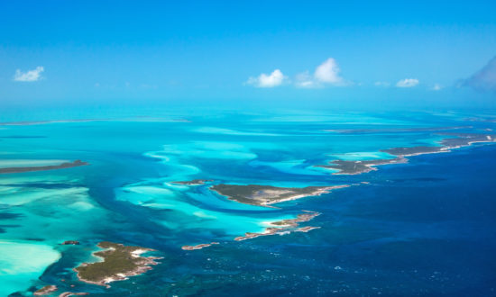 Aerial view of the bahamas islands and clear water