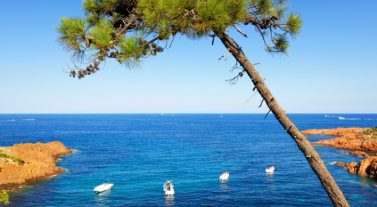 View of the sea on the Cote d'Azur