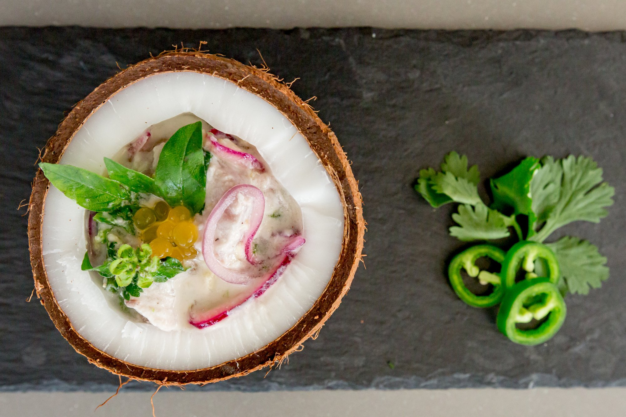 Fish Ceviche with Coconut Milk and Ginger by Chef Fabiola of Luna