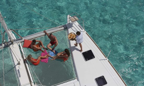 being served drinks on a yacht