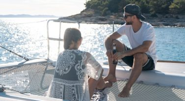 two people on yacht trampoline