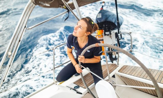 woman skipper sailing