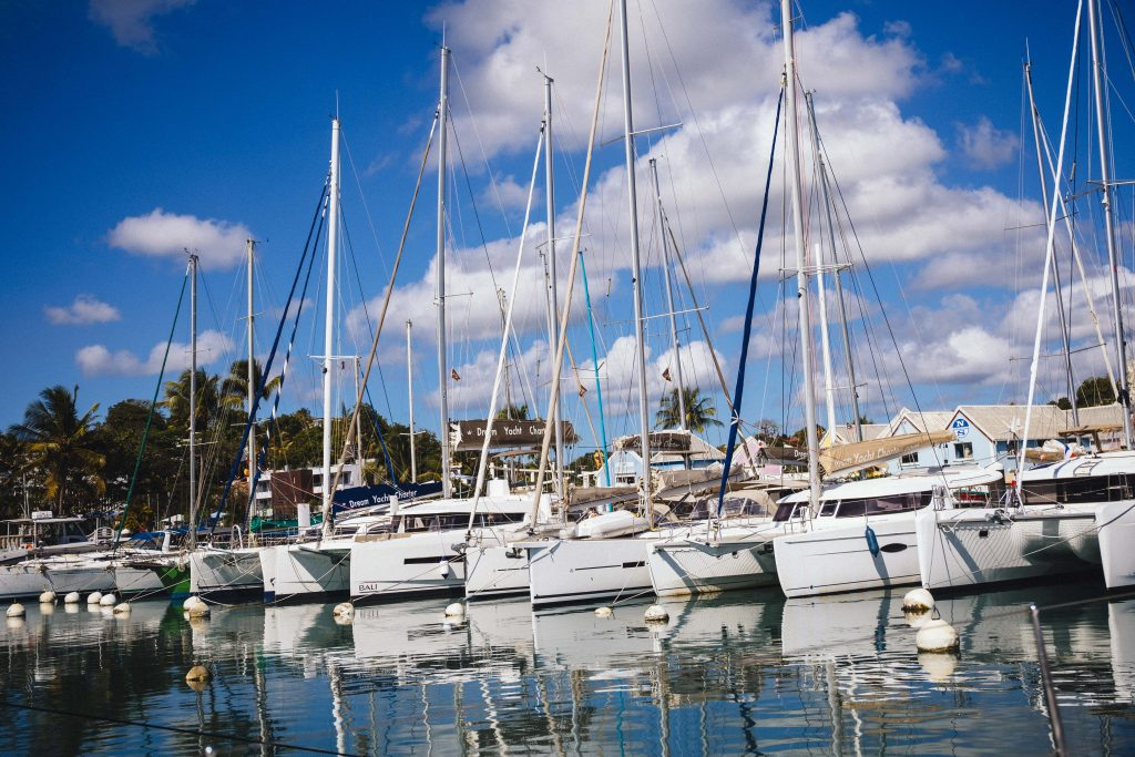 Boats lined up at dock