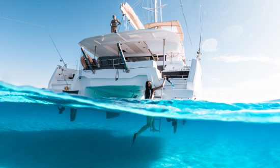 Below the water under yacht