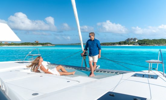 Couple relaxing on yacht deck